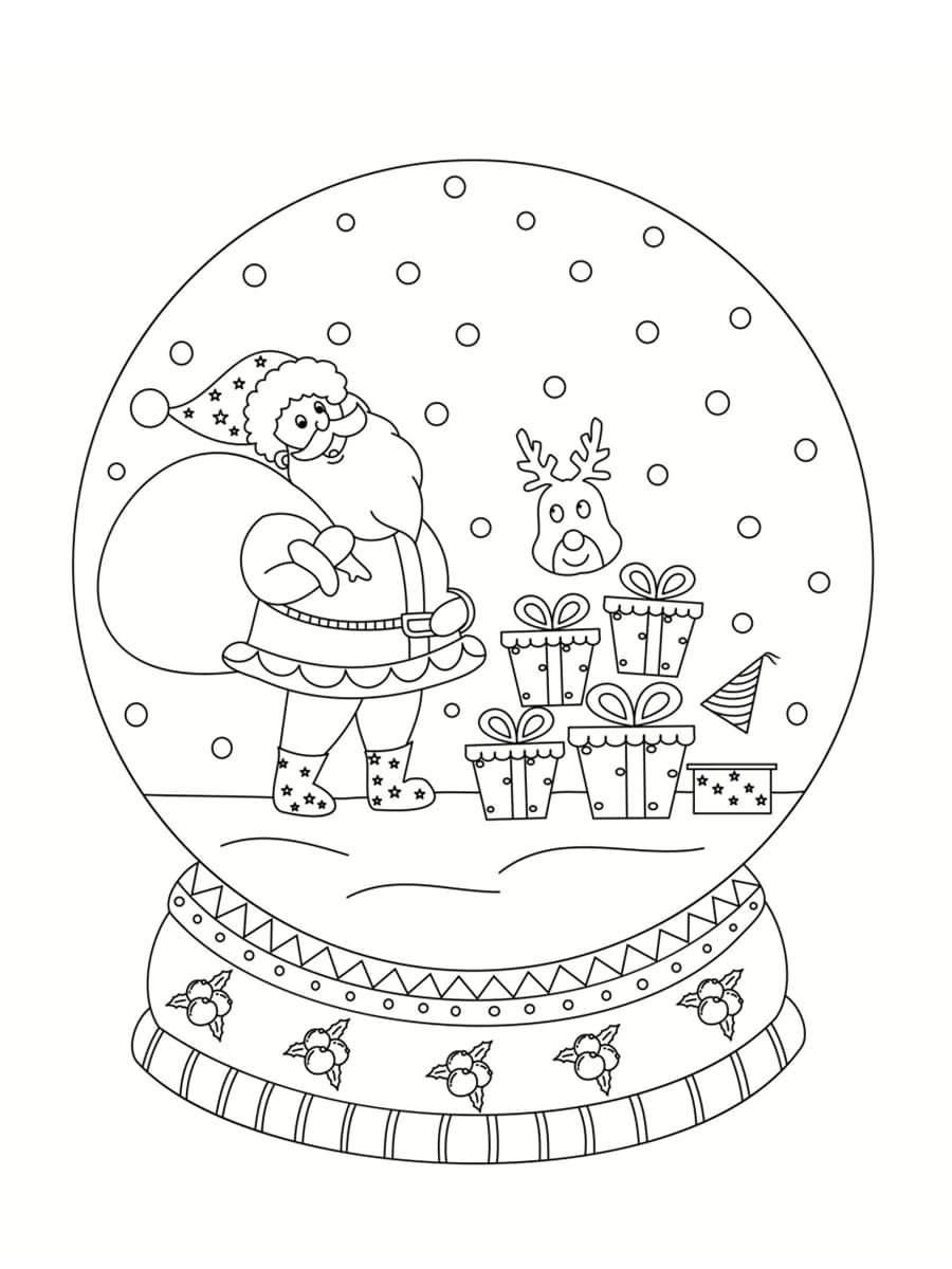 coloriage boule à neige père noel