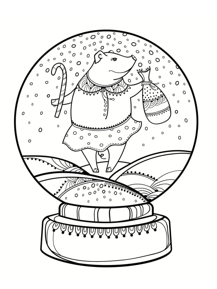 coloriage boule à neige souris
