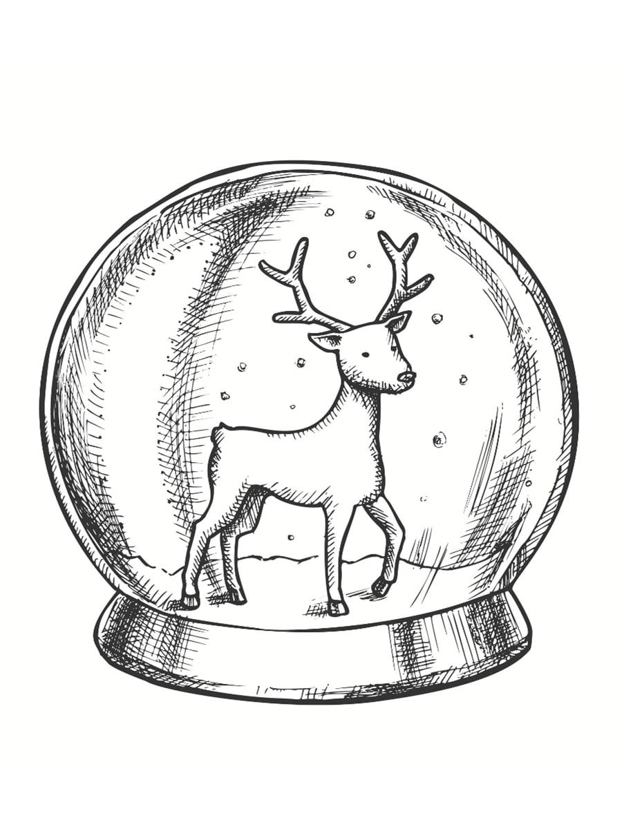 coloriage boule à neige cerf
