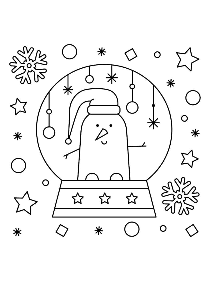 coloriage boule à neige de noel