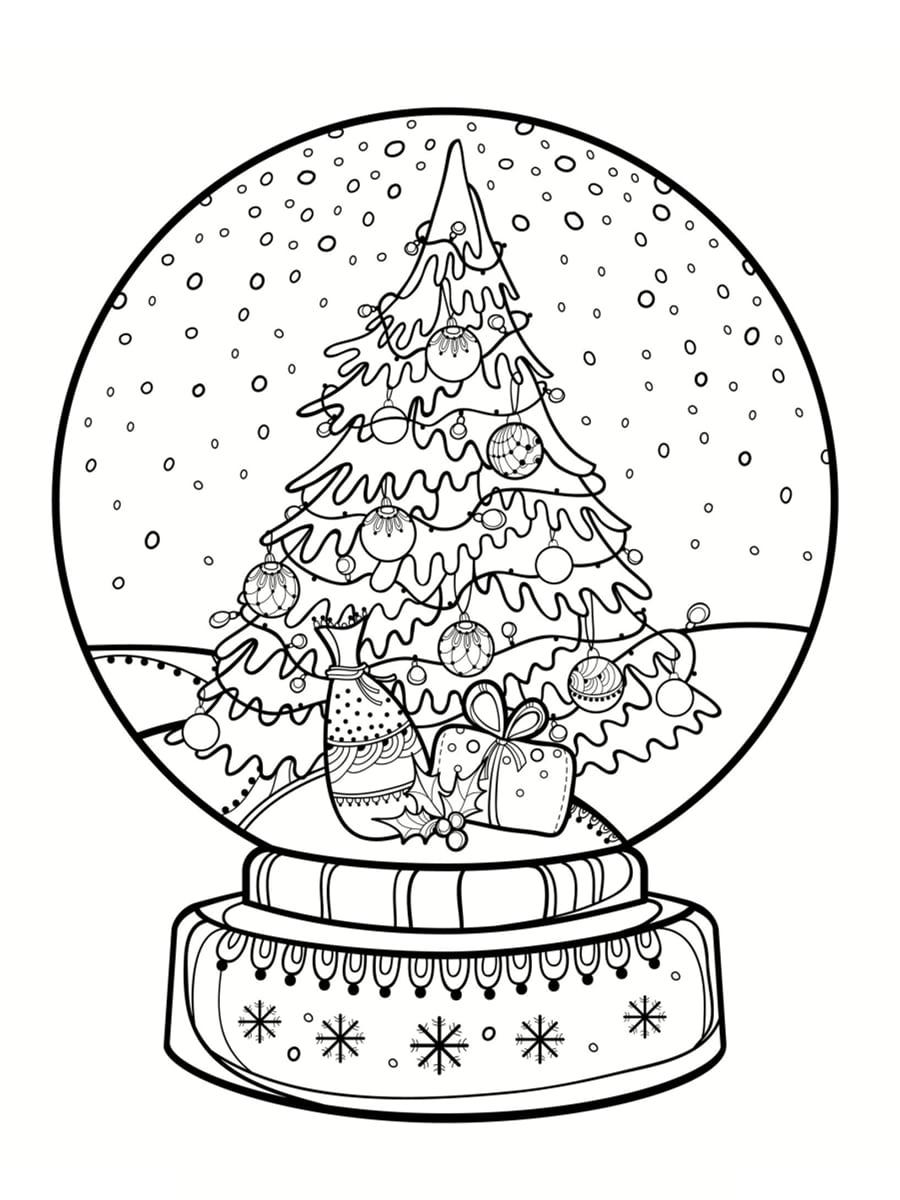 coloriage boule à neige sapin