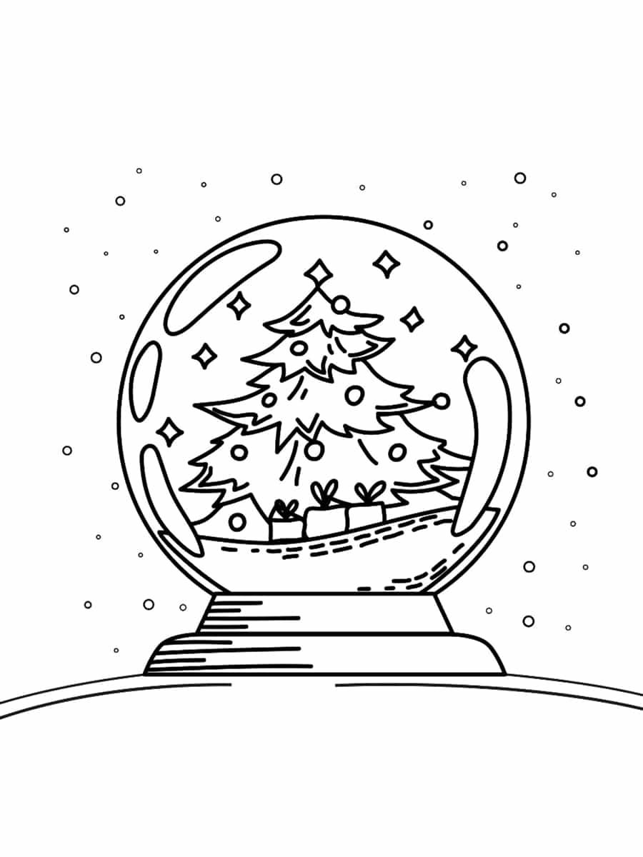 sapin boule à neige coloriage