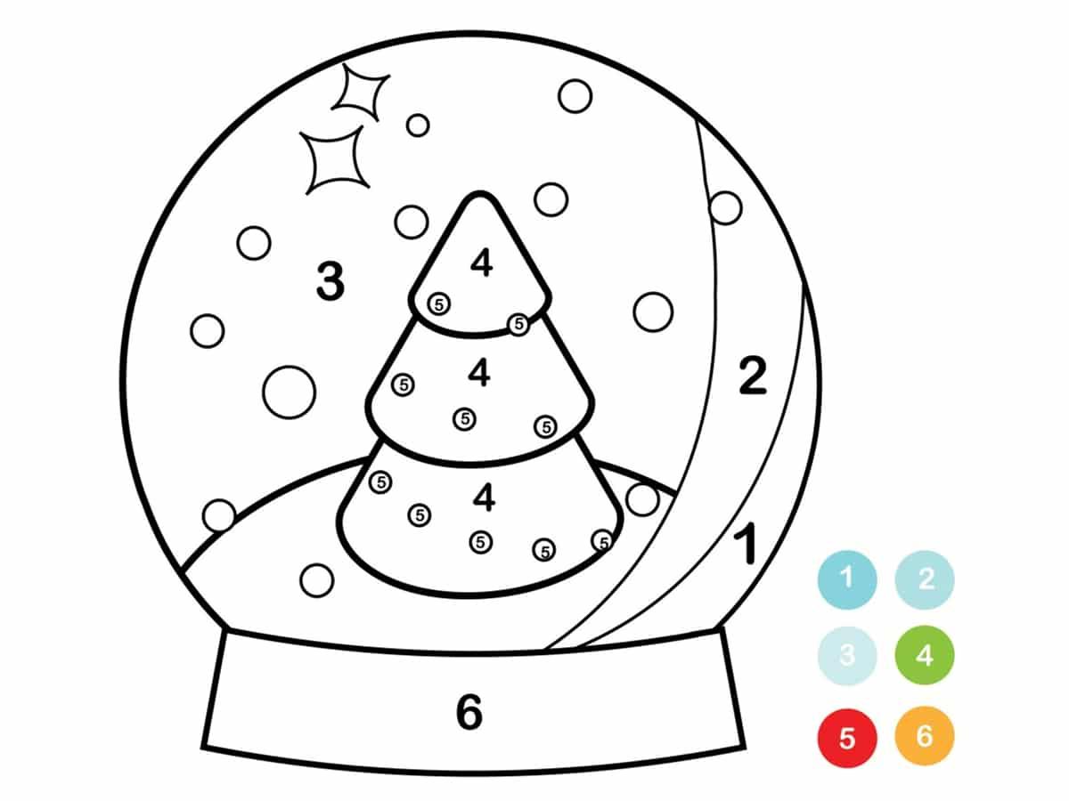 coloriage boule à neige par chiffre