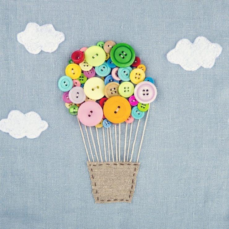 carte montgolfière boutons