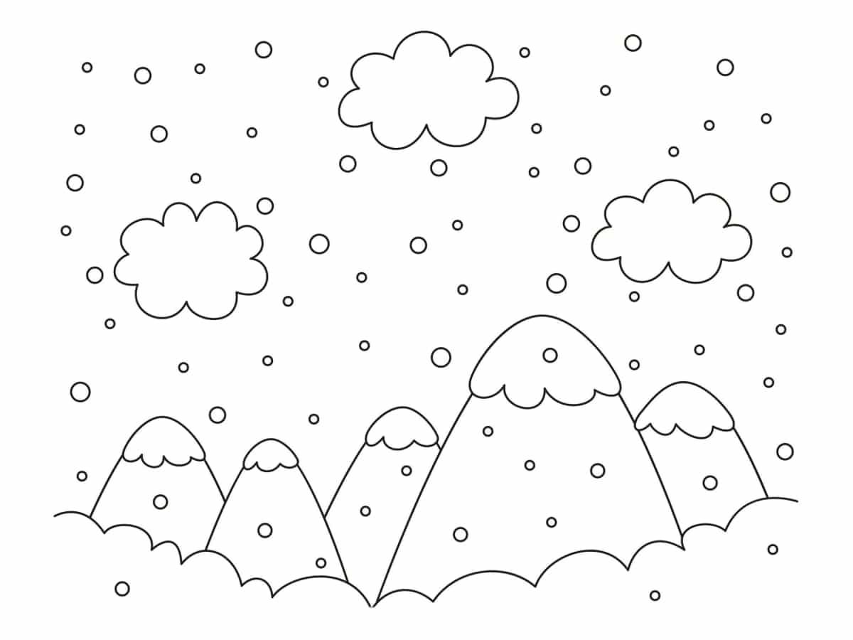 coloriage paysage hiver