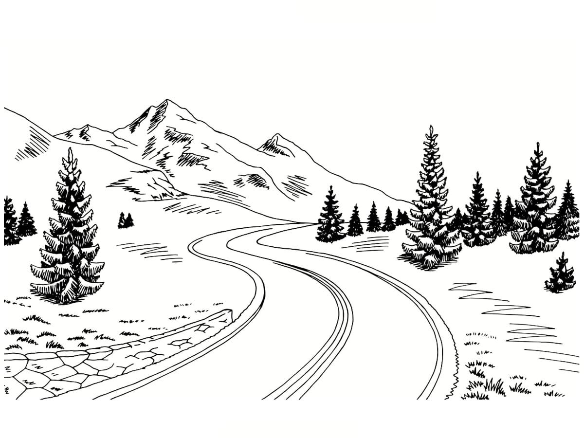 route hiver coloriage