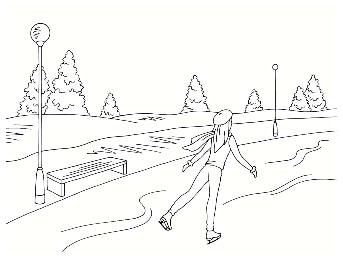 coloriage patinage hiver