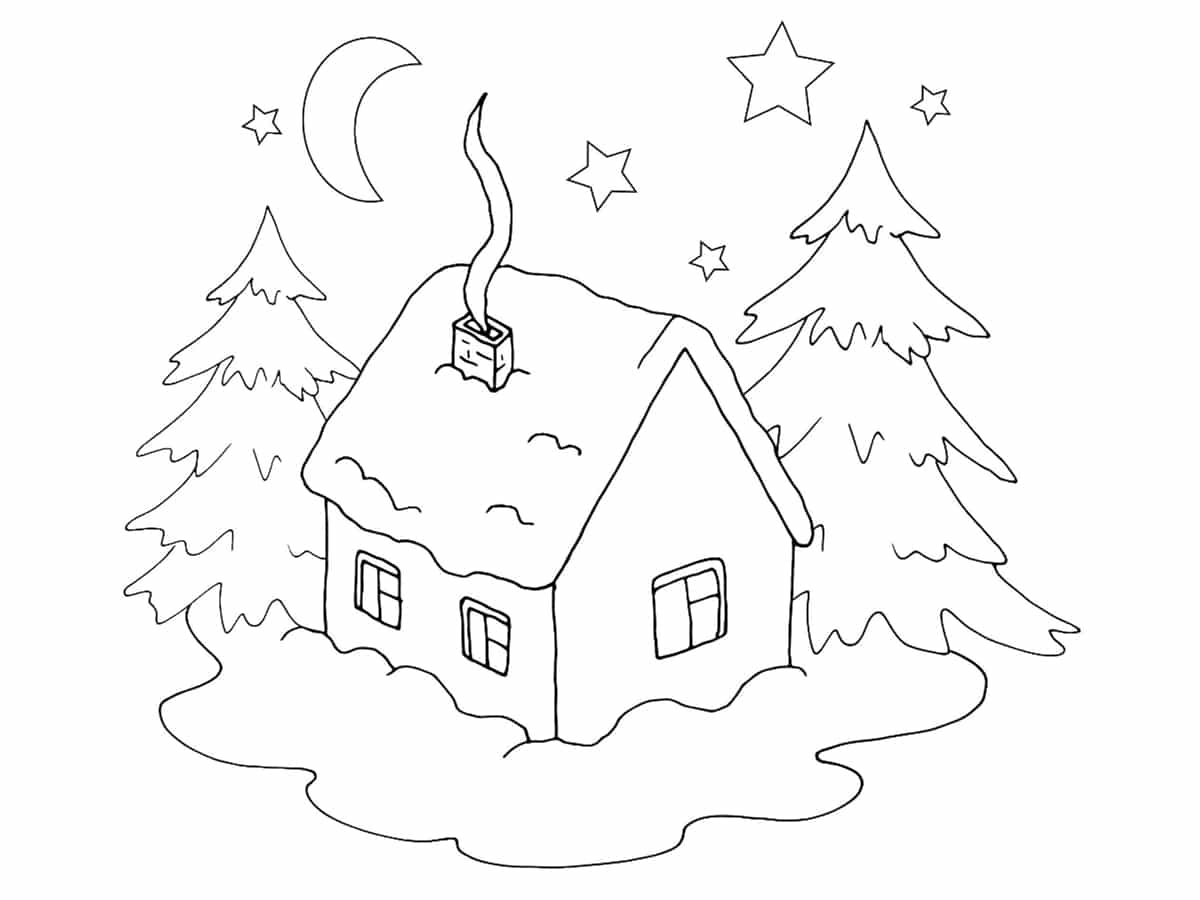 coloriage maison hiver