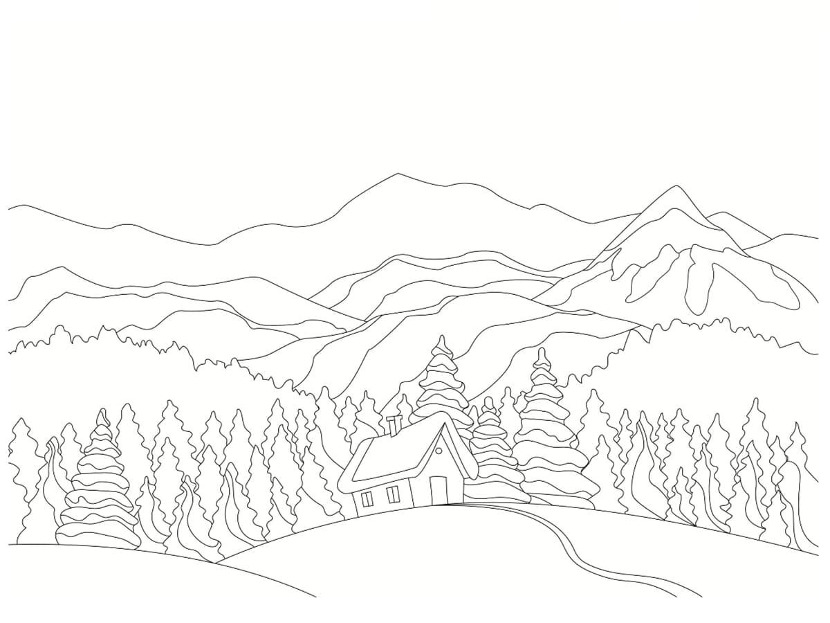 coloriage de paysage d'hiver