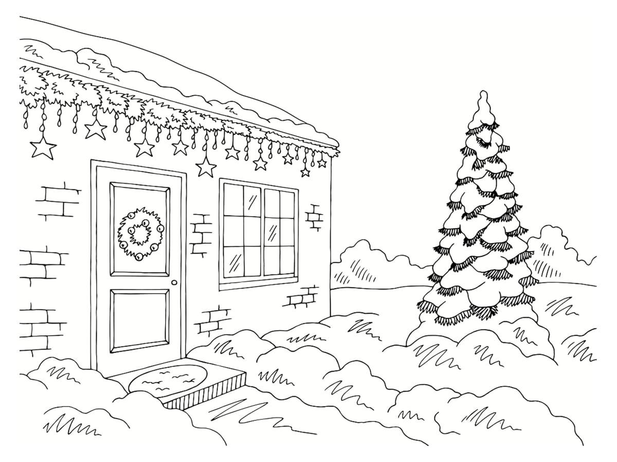 maison hiver coloriage