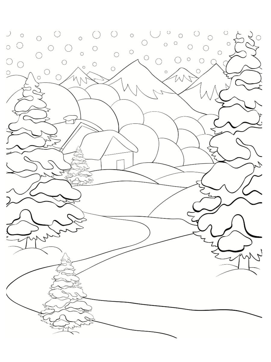 paysage neige coloriage