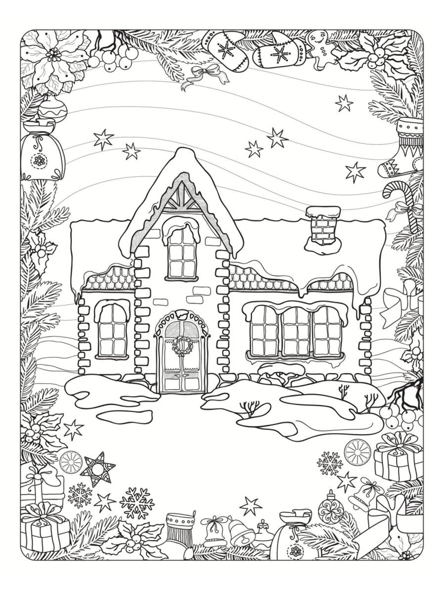 maison neige coloriage