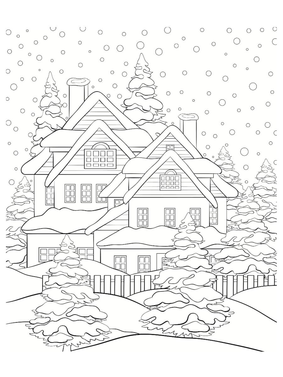 paysage d'hiver à colorier