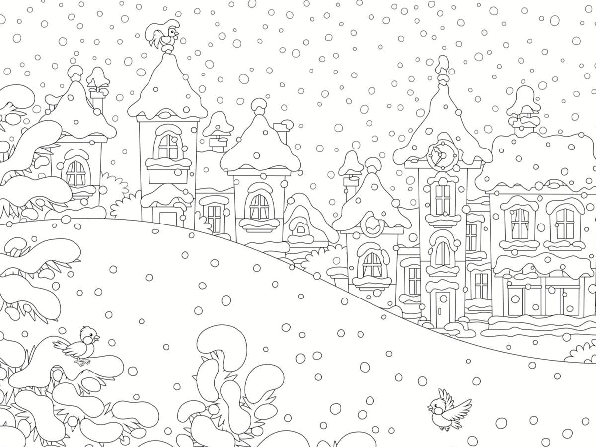 coloriage de paysage hiver