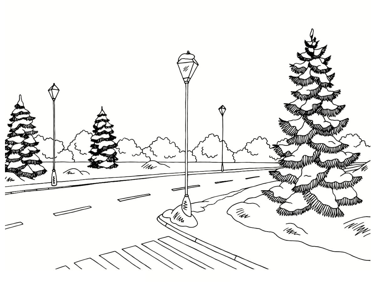 dessin paysage hiver
