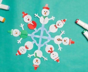 Flocon de neige en papier façon bonhomme de neige