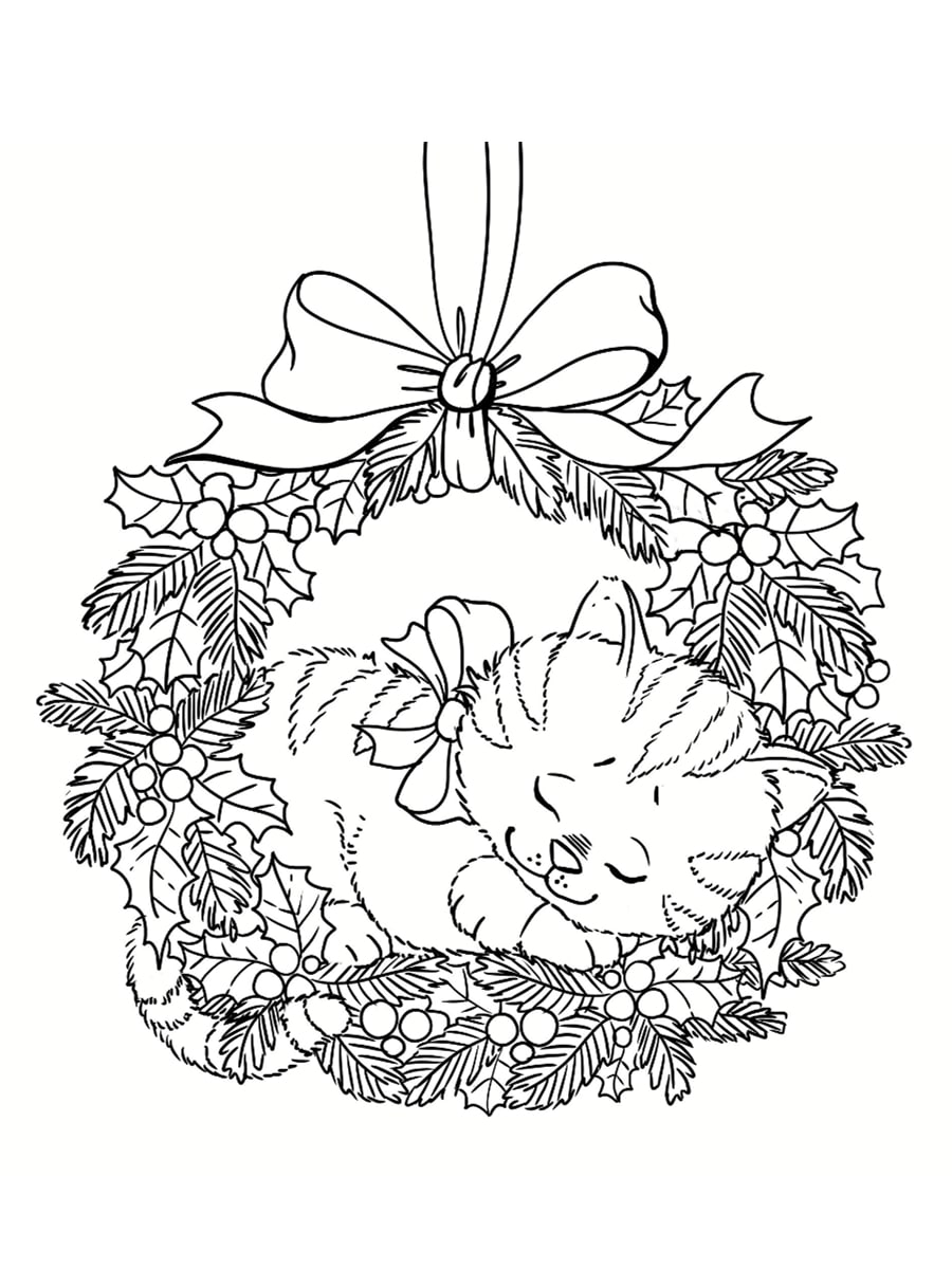 coloriage couronne de noel et chat