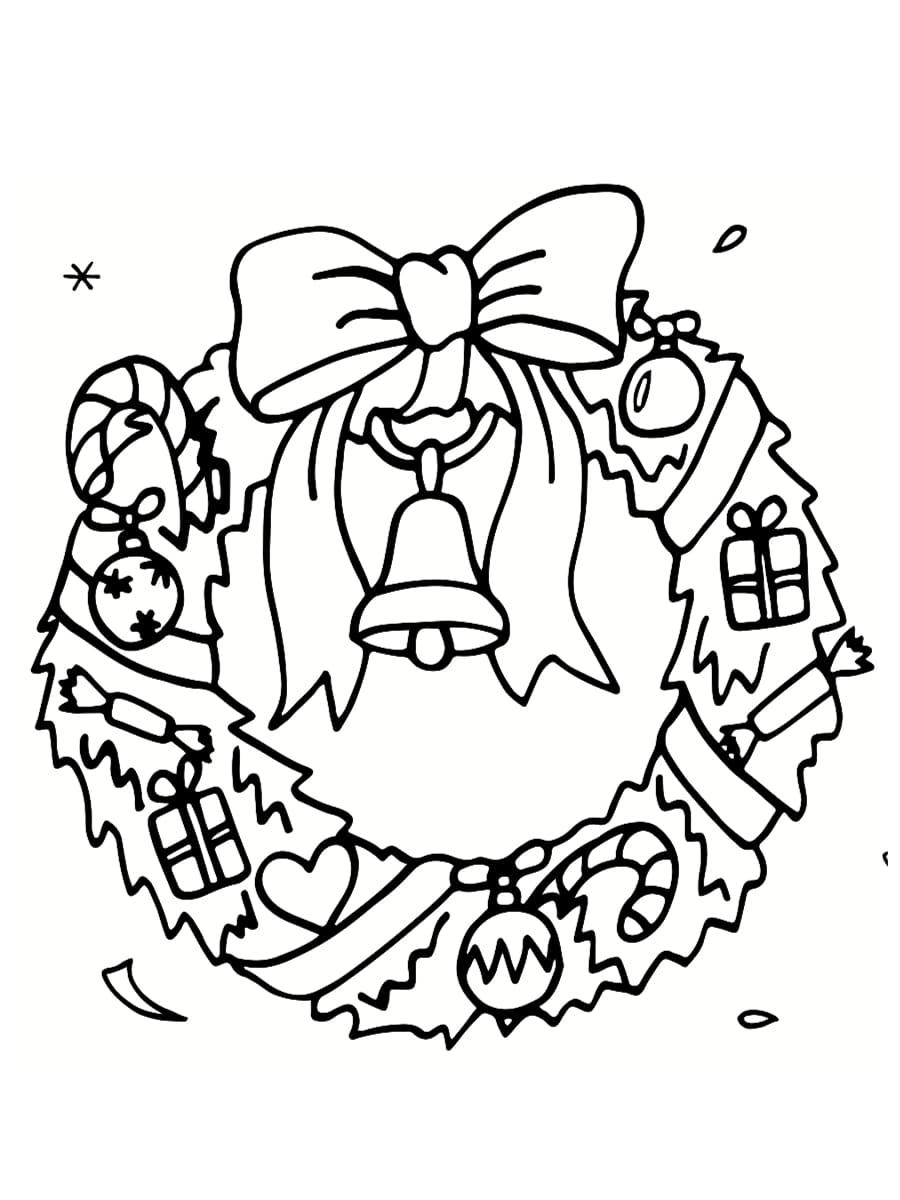 coloriage couronne de noël
