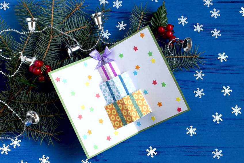 carte noel cadeau pop up