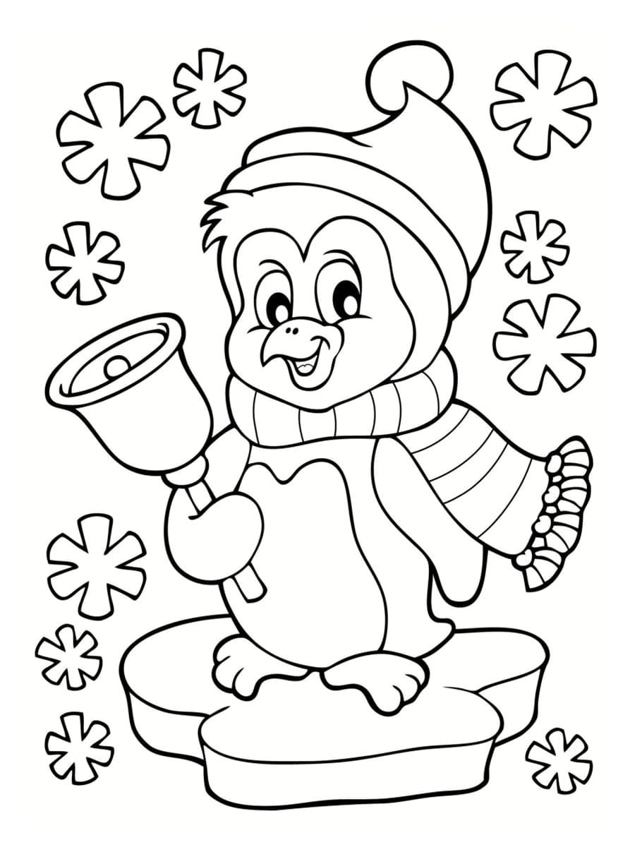 coloriage pingouin de noël