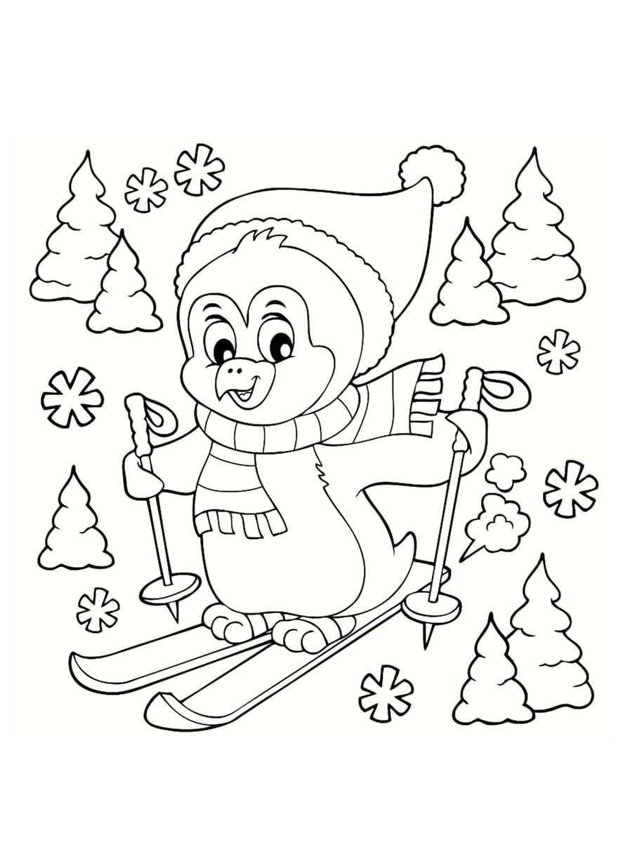 coloriage pingouin noel ski