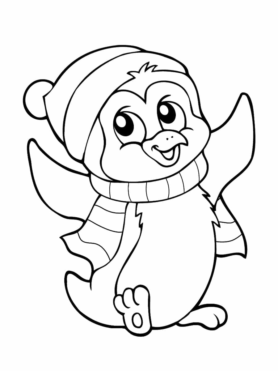 coloriage pingouin noel