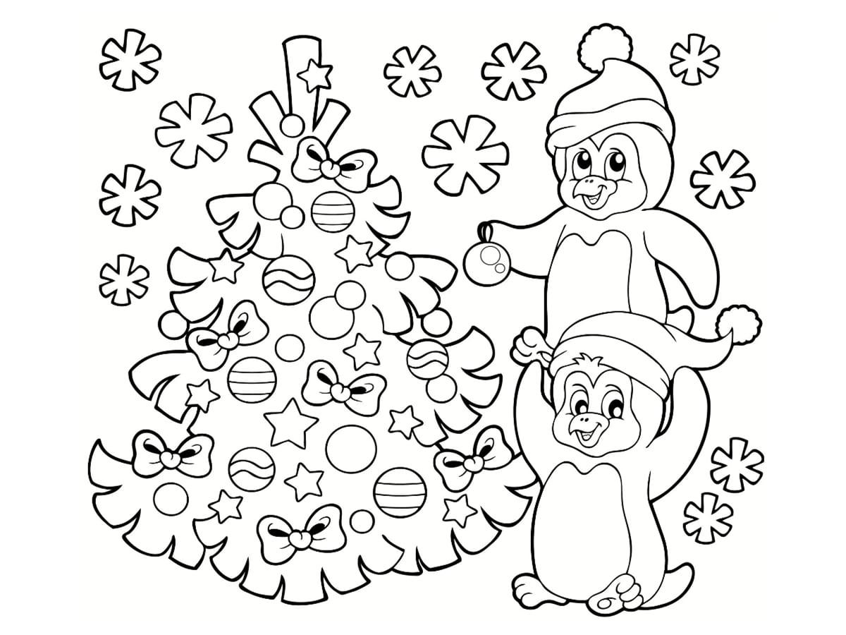 coloriage pingouin noel sapin