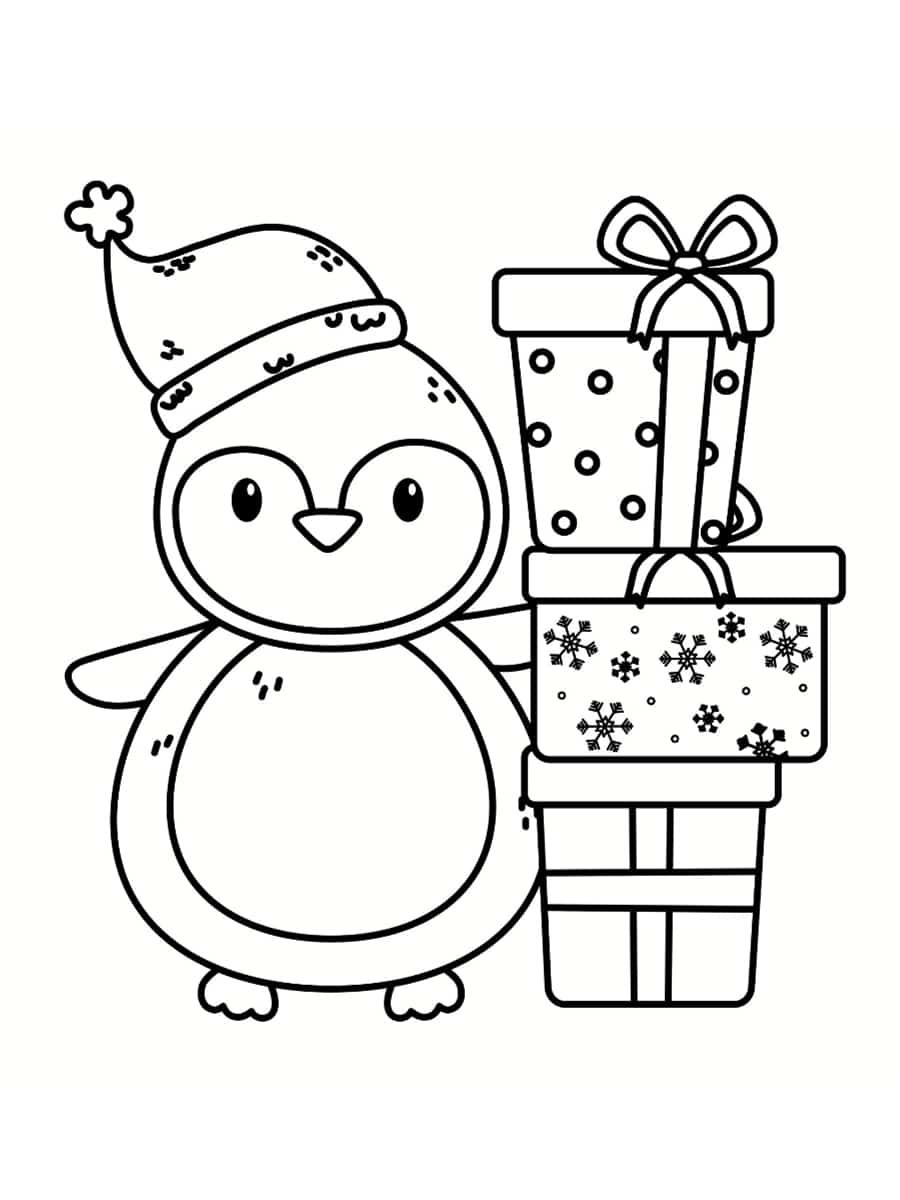 coloriage pingouin noel cadeaux