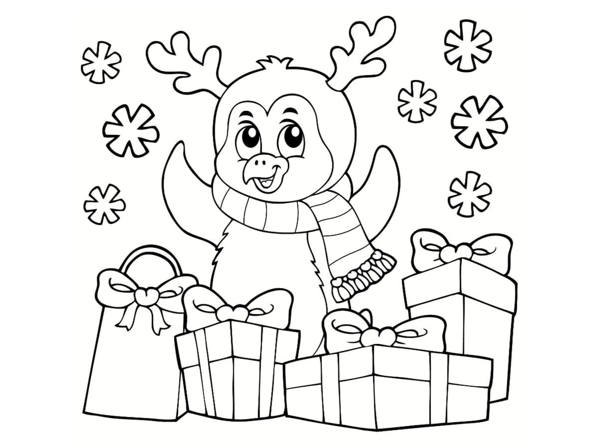 coloriage pingouin cadeaux