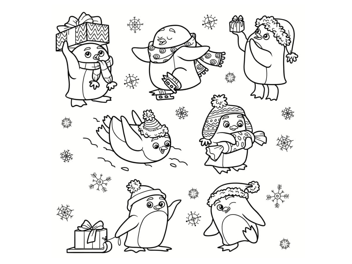 coloriage pingouins de noel