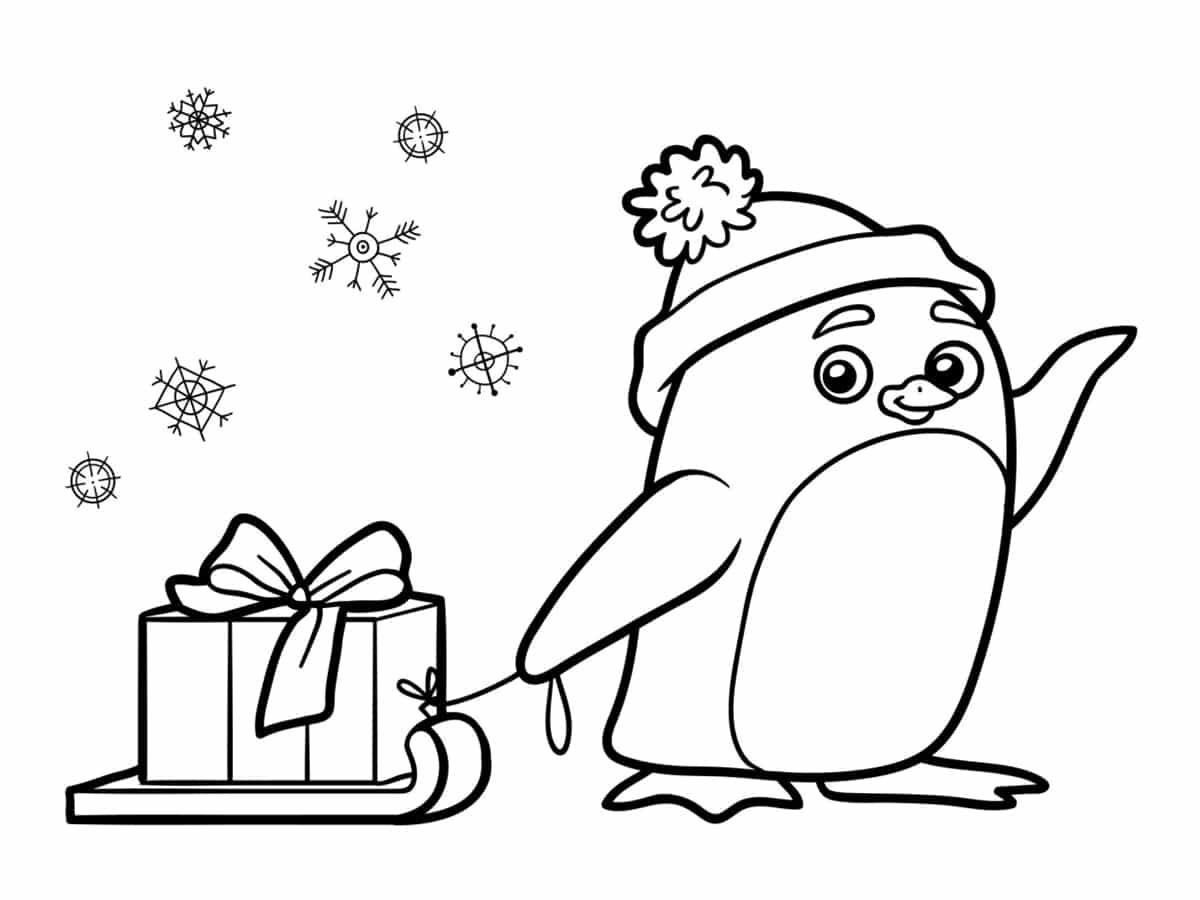 dessin pingouin noel
