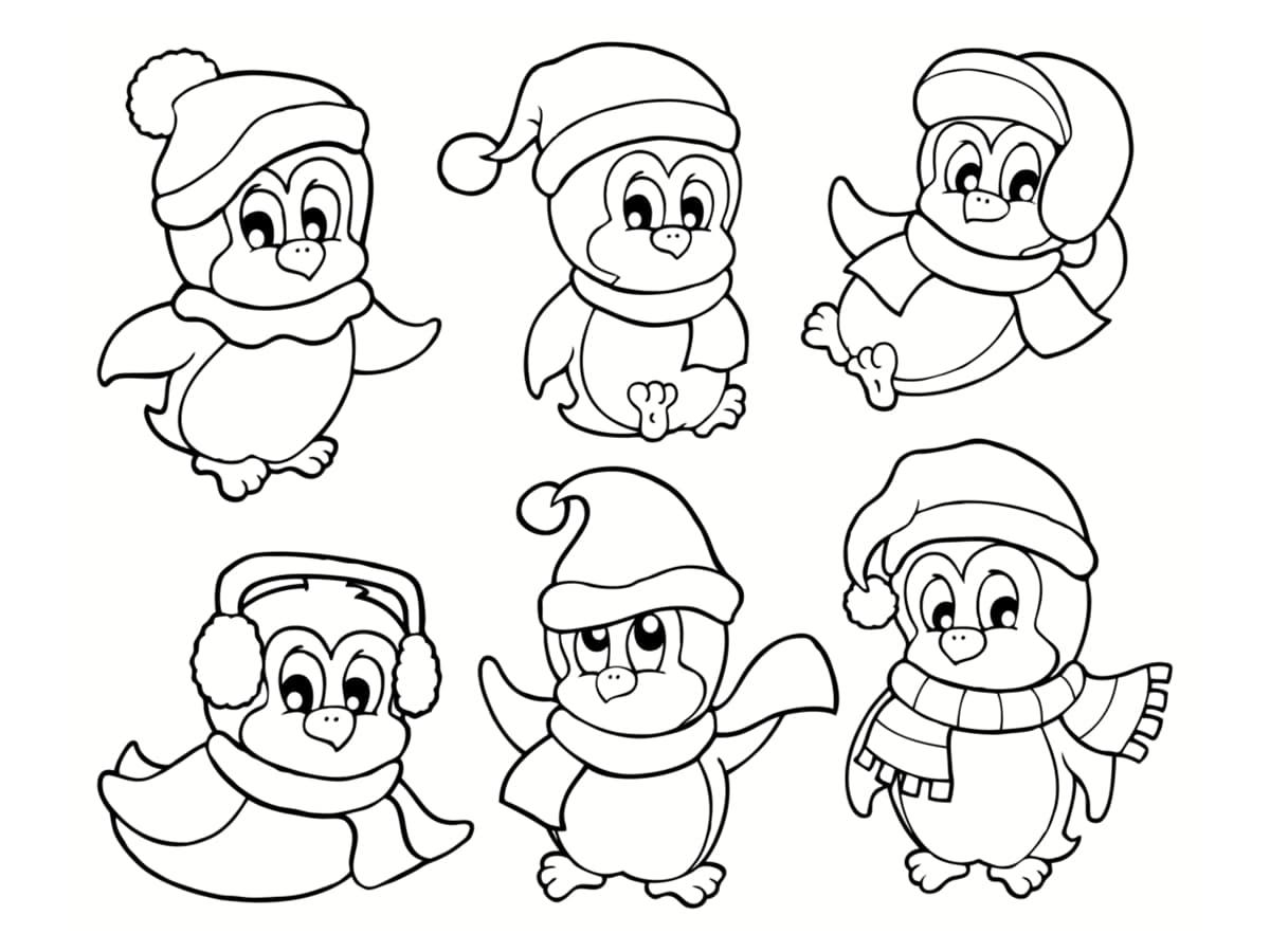 Coloriage pingouin de Noël : 40 dessins à imprimer ...