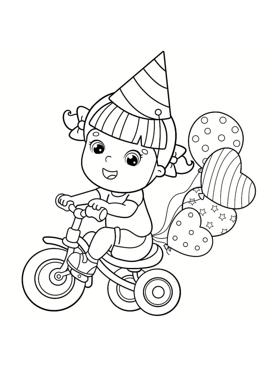 coloriage vélo fille