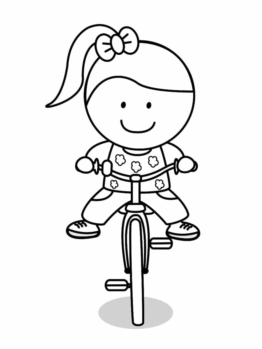 coloriage fille sur un vélo