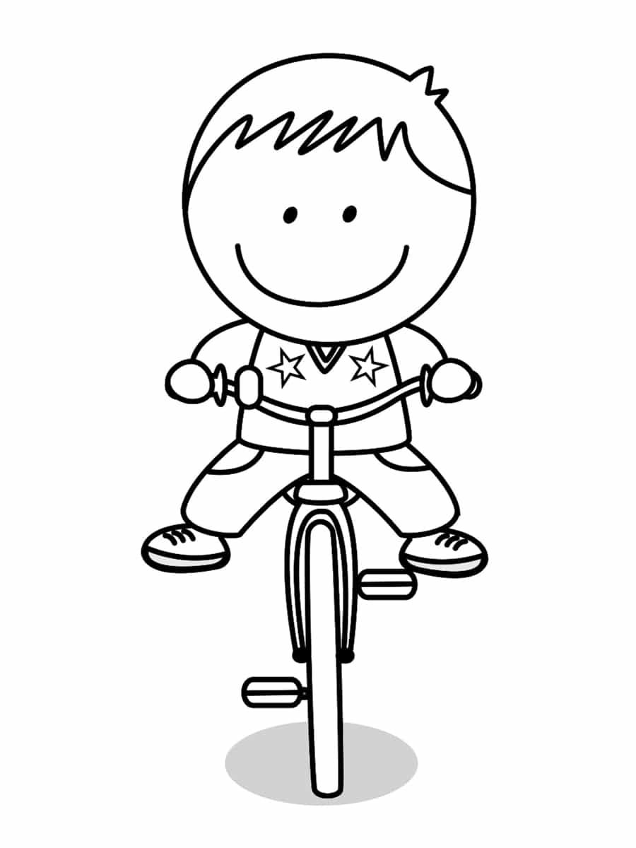 coloriage garçon sur un vélo