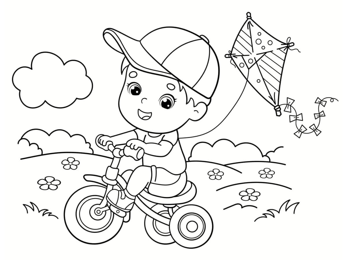 coloriage vélo et cerf volant