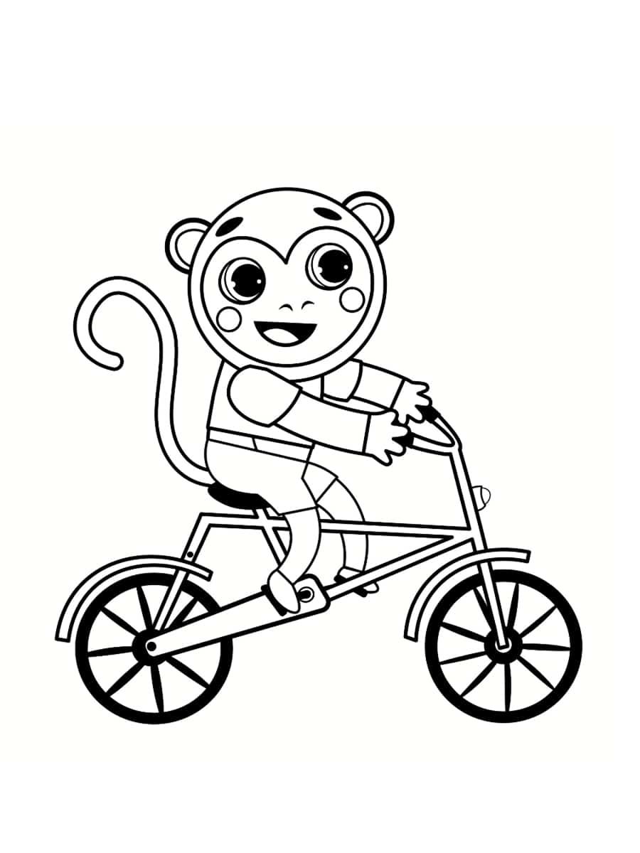 coloriage singe vélo