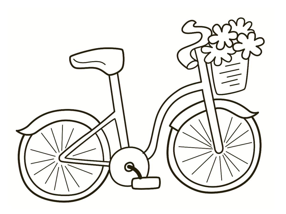 coloriage vélo fleuri
