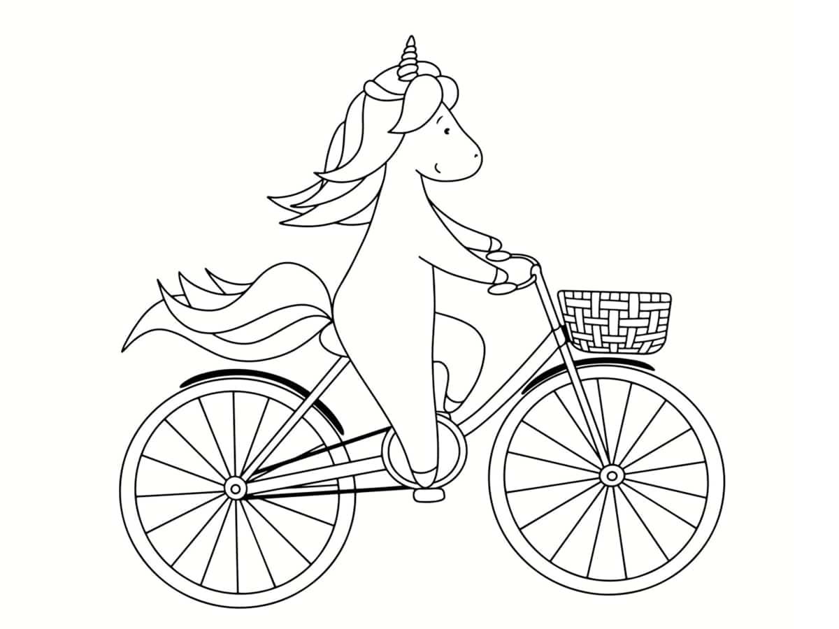 coloriage vélo licorne