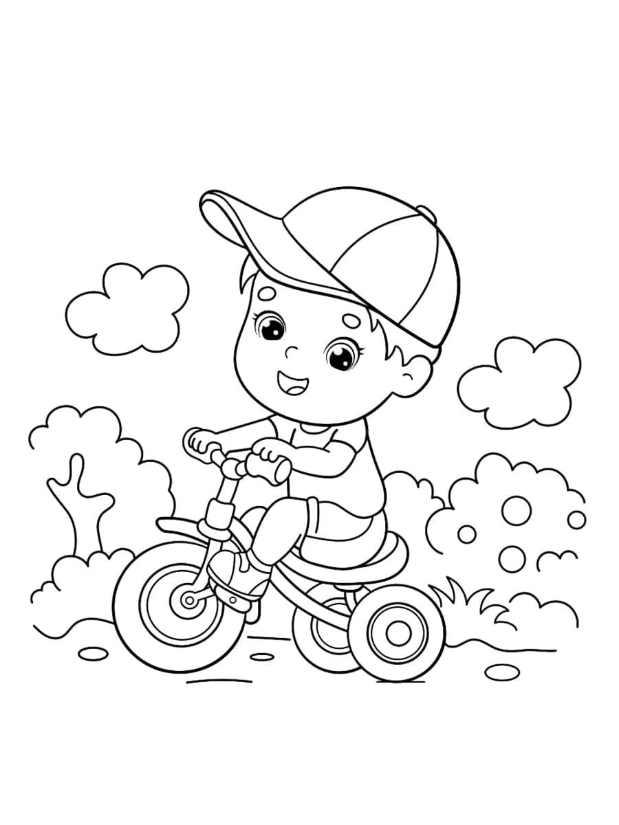 coloriage tricycle garçon