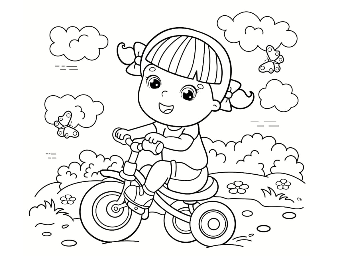coloriage tricycle fille