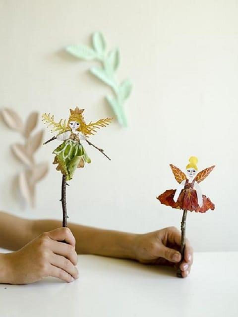 bricolage marionnette feuilles